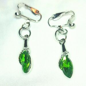 """Jewelry - 1.5"""" Sil Pl Emerald Green Crystal Clip-on Earrings"""